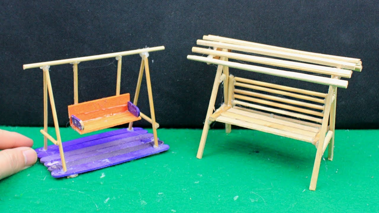 3 Easy U0026 Quick Miniature Outdoor Furniture #7 | Swing U0026 Bench Crafts Ideas