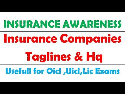 Insurance Awareness ||Insurance Comapnies Taglines And Hq ||UIIC ||OICL