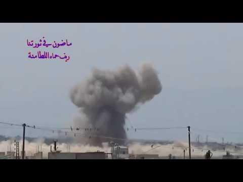 Aircrafts pounding Latamnah town in Northern Hama