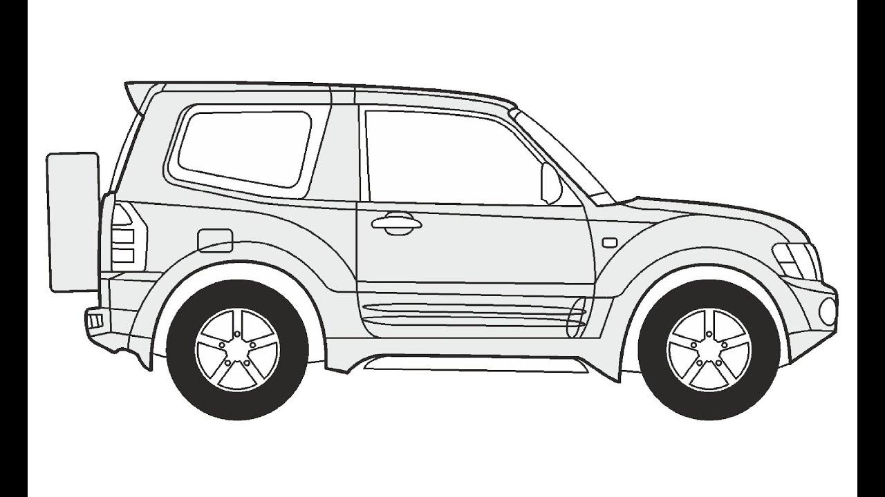 How to Draw a Mitsubishi Pajero 3 / Как нарисовать