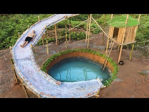 Dig To Build Most Water Slide House Around Swimming Pool Underground