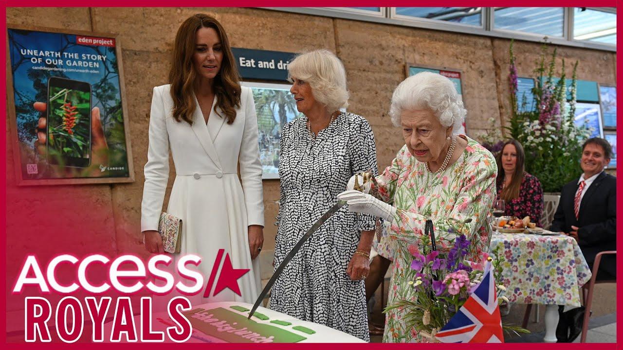 Watch Queen Elizabeth Cut Cake With Giant Sword