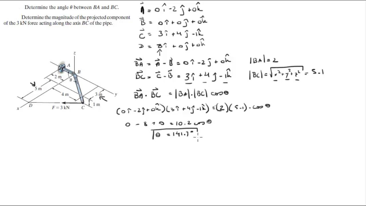 Find the angle between two vectors and find the projected ...