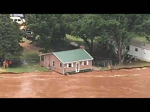 LIVE: Homes dangerously close to falling into swollen Oklahoma river