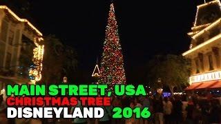 Main Street, USA Christmas tree lights during 2016 holiday season at Disneyland