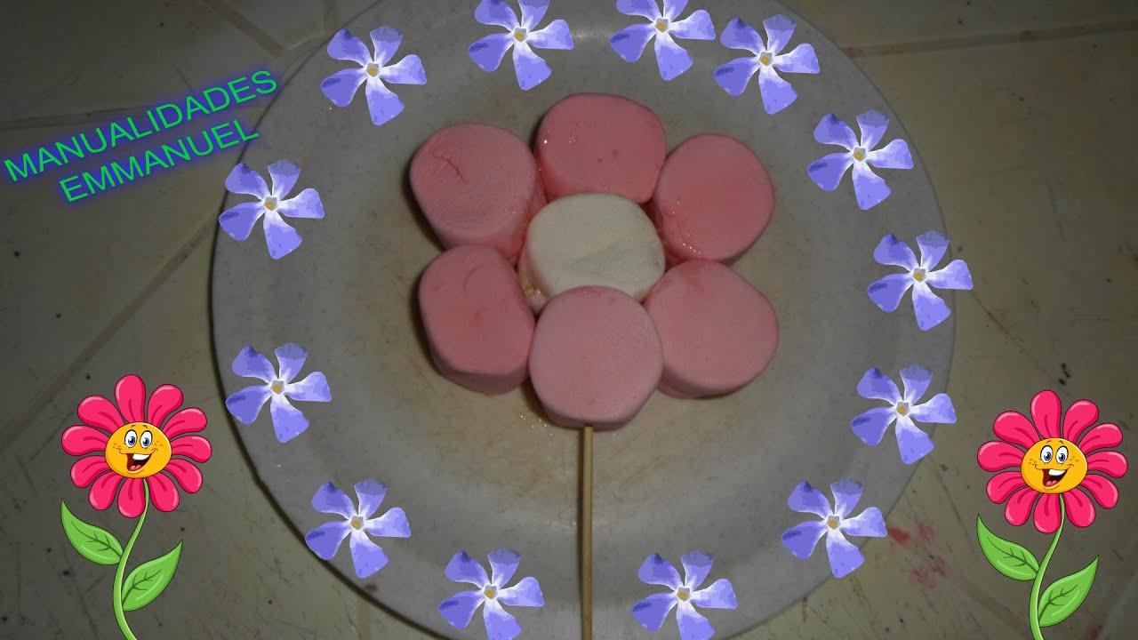 Como hacer brochetas de bombon en forma de flor super - Como hacer flores ...