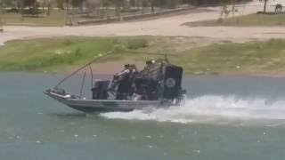 US Border Patrol Air Boat on the Rio Grande
