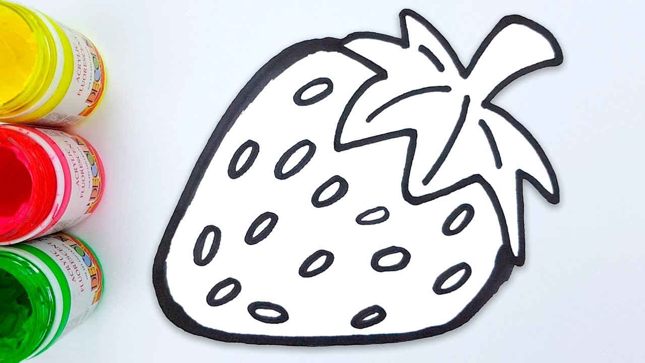 Glitter Strawberry Coloring Pages and Drawing for Kids - Medea Art ...