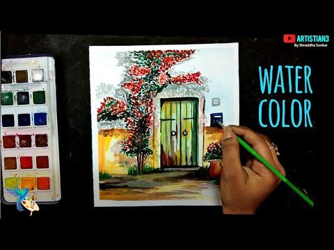 Watercolor painting for beginners beautiful flower tree and simple door