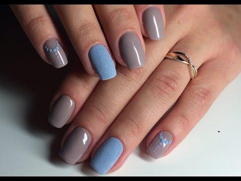 Ч3. Бархатный песок акриловой пудрой, осенний дизайн ногтей гель-лаком