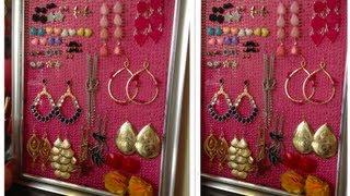 DIY: Como hacer organizador de Pendientes, Aretes, Zarcillos... Earring holder!