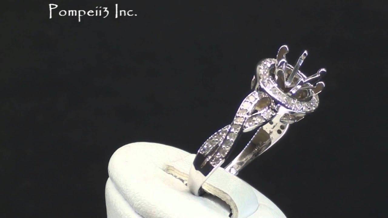 Pompeii3 40CT Halo Diamond Infinity Twist Pave Engagement Ring