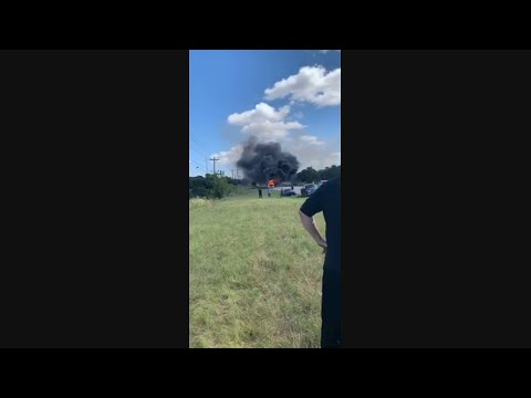 Church group charter bus burns in Blanco County