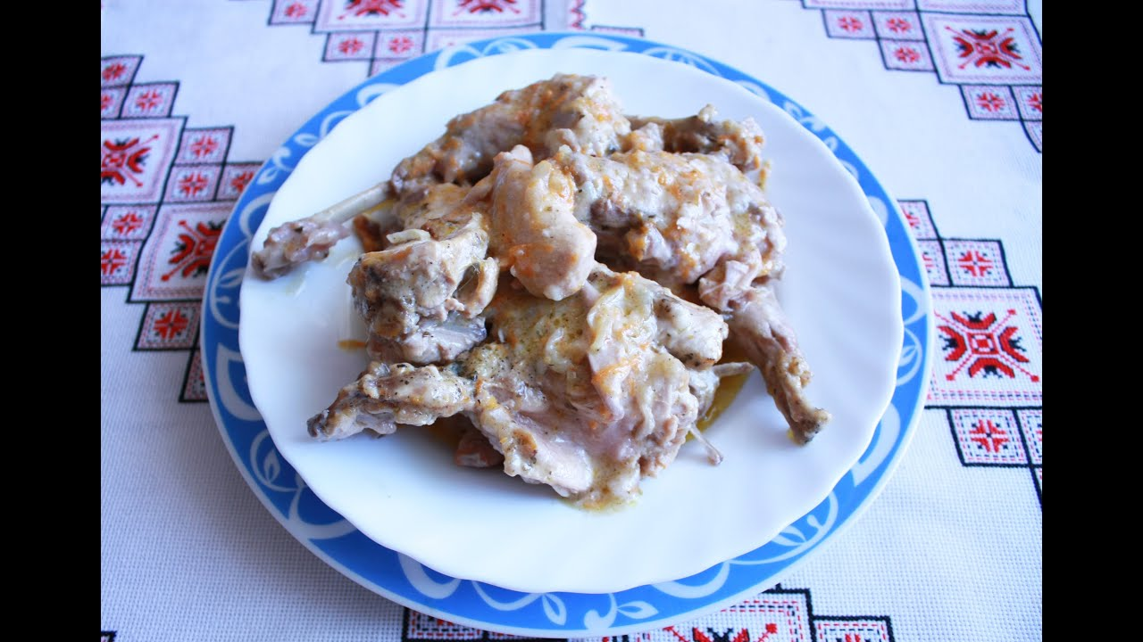 Кролик в сметане Как приготовить кролика блюда из кролика кролик рецепт кролик в духовке|рецепт как приготовить кролика