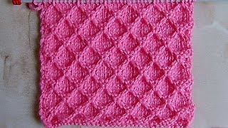 Рельефный вафельный узор Вязание спицами Видеоурок 265