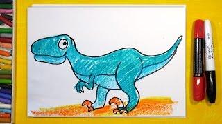 Как нарисовать Динозавра (ВЕЛОЦИРАПТОР) | Урок рисования для детей от 3 лет