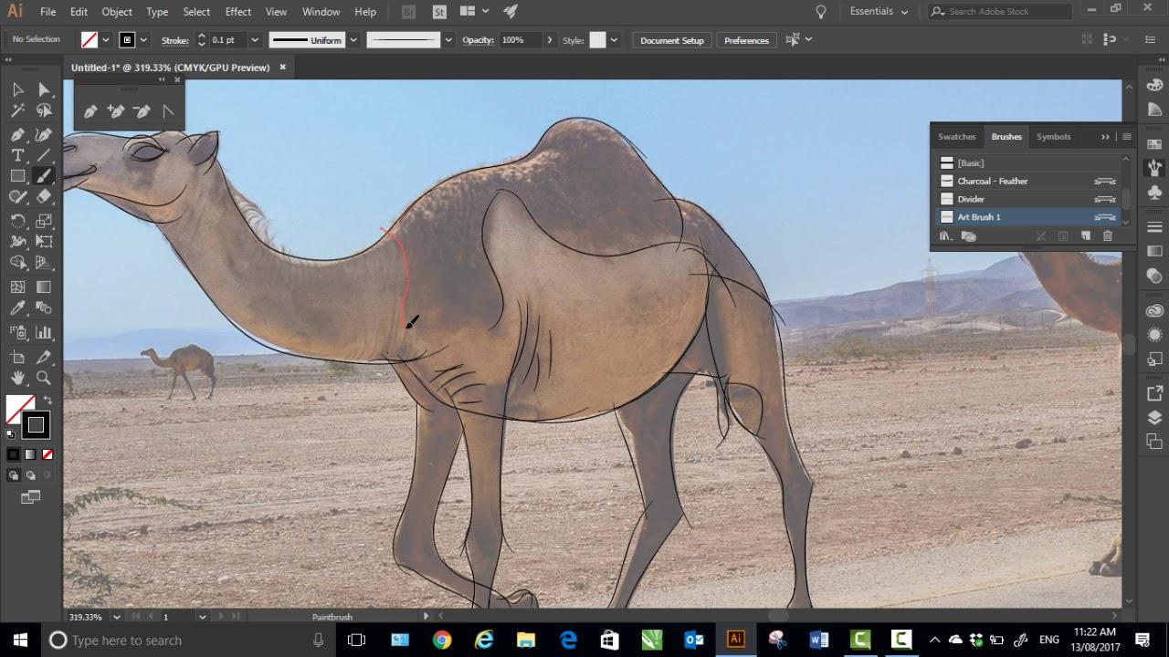 Line Drawing Of Desert Animals : Adobe illustrator line art speed demonstration drawing a camel