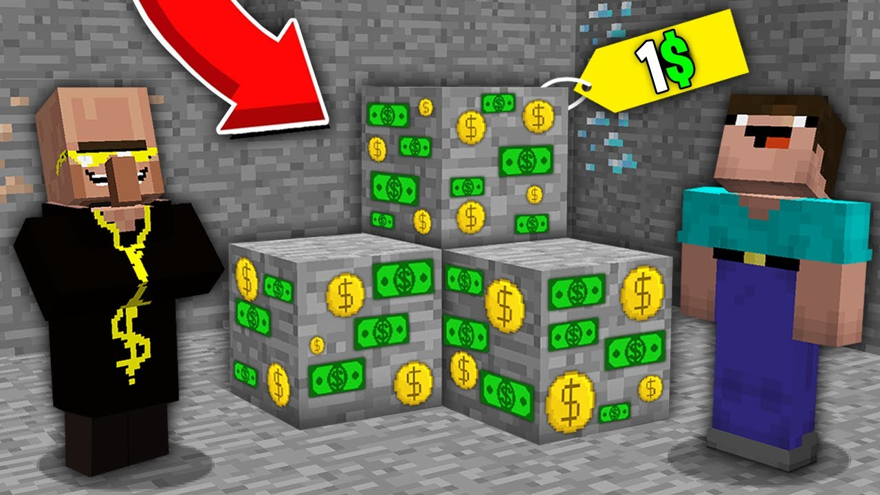 Minecraft NOOB vs PRO: WHY THIS RICH VILLAGER SELL MONEY ORE FOR 1$ TO NOOB SO CHEAP? 100% trolling