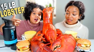 15 LB LOBSTER AND FIVE GUYS BURGER MUKBANG WITH CHEESE DIPPING SAUCE