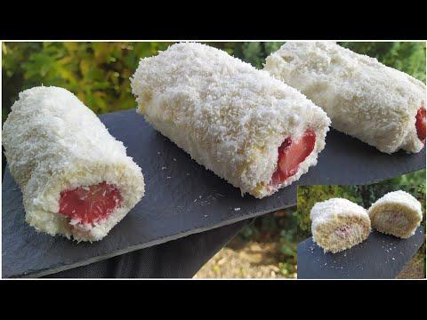 roulé-coco-chantilly-fraise-/-gâteau-facile-et-rapide-/-coconut-chantilly-roll-/رولي-كوكو-شانتيلي