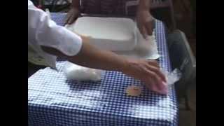 Clase de forrar pastel con Fondant y decoración de gelatinas en Expo.