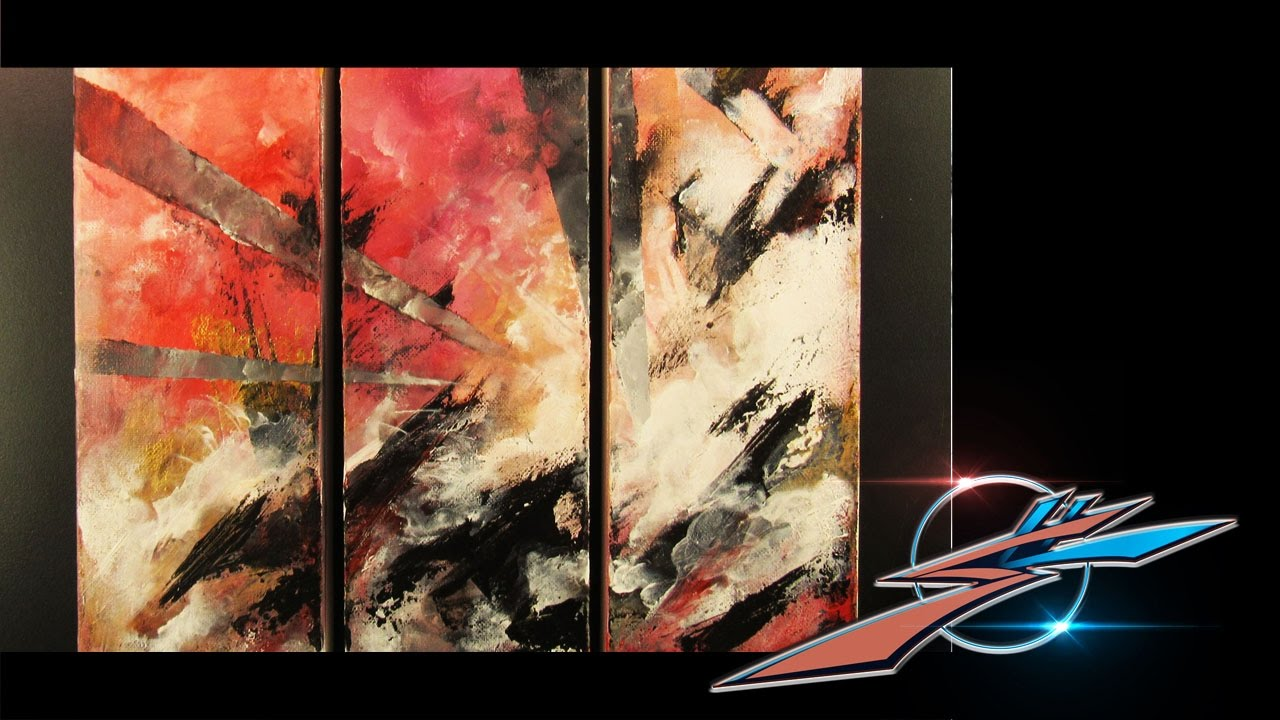 Abstract 3 panel acrylic painting youtube for 3 panel painting