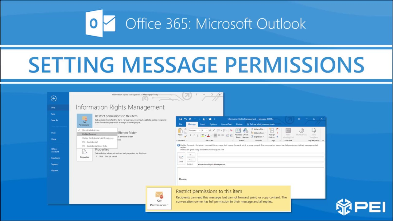 Office 365 - Setting Information Rights Management Policies in Outlook