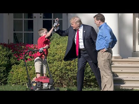 Donald Trump takes up offer from 11-year-old to help cut the White House grass