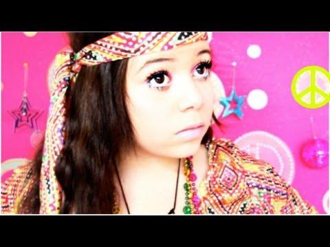 Retro Hippie Halloween Makeup,Hair,Outfit! - YouTube