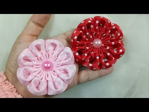 129) Tutorial Simple Kanzashi Flower || Kembang Goyang