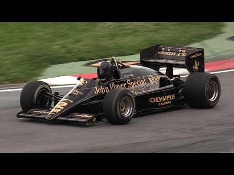 1985 Lotus 97T F1 V6 Turbo Sound - Accelerations & Flaming Warm Up