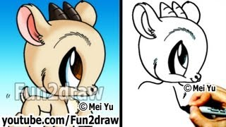 How to Draw Easy Stuff - How to Draw Animals - Goat - Cute Drawings - Fun2draw