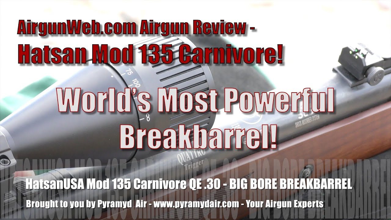 Hatsan 135 QE Carnivore Big Bore Breakbarrel Air Rifle - Airgun Review by  AirgunWeb