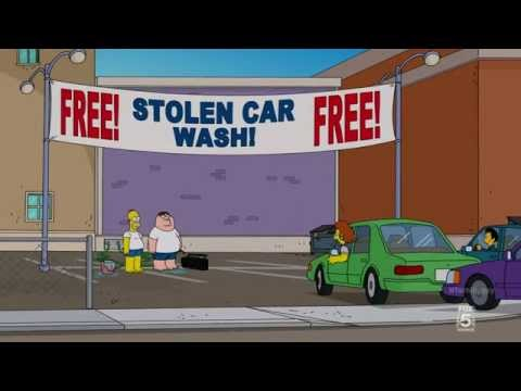 Family Guy and Simpsons Cross Over Episode Car Wash