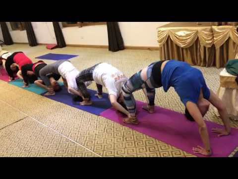 Group Yoga Class in Bhutan - Wheel Pose