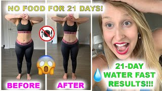 #waterfasting💧21-Day Water Fast Results!!! Before/After (Lost 21.5lbs) 🚫 No Food in 21 Days