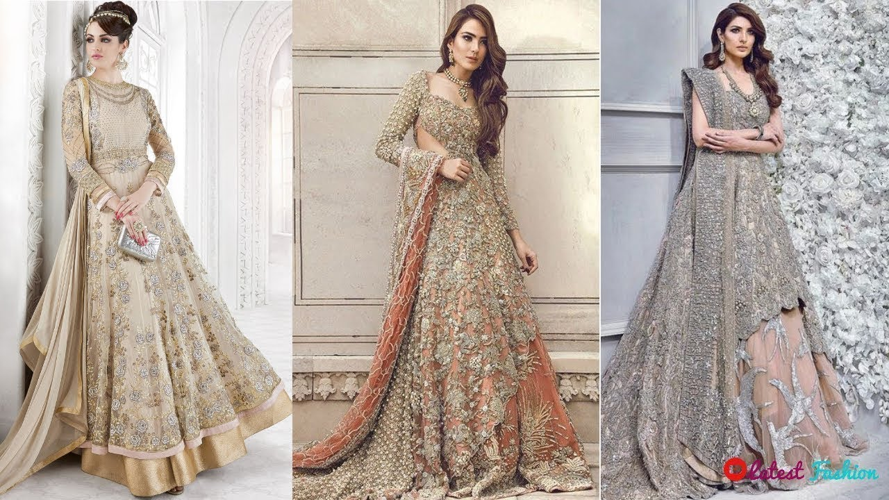 New Pakistani Bridal Anarkali Dresses 2018-19 Lehenga