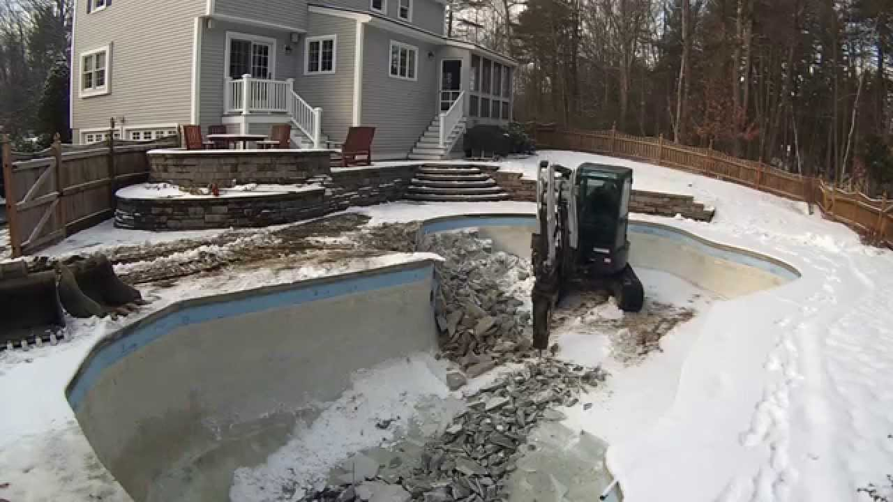 Mini excavator demolishing pool youtube for What to do with old swimming pool