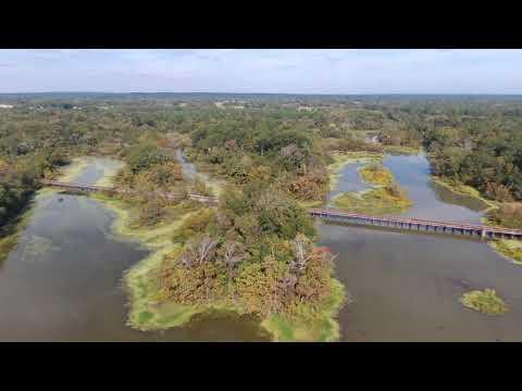 Drone Flight Over Neches River Train Trestle, Chandler, TX (Full Flight)