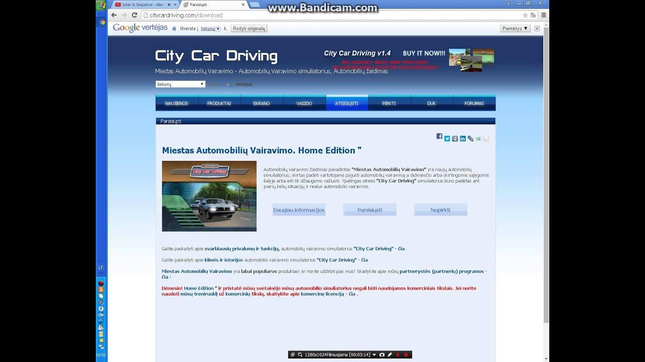 Kaip Parsisiu00c5u00b3sti City Car Driving 1 4 1 Versija Youtube