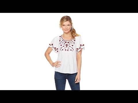 Lucky Brand Womens Plus Size Jordynn Peasant Top