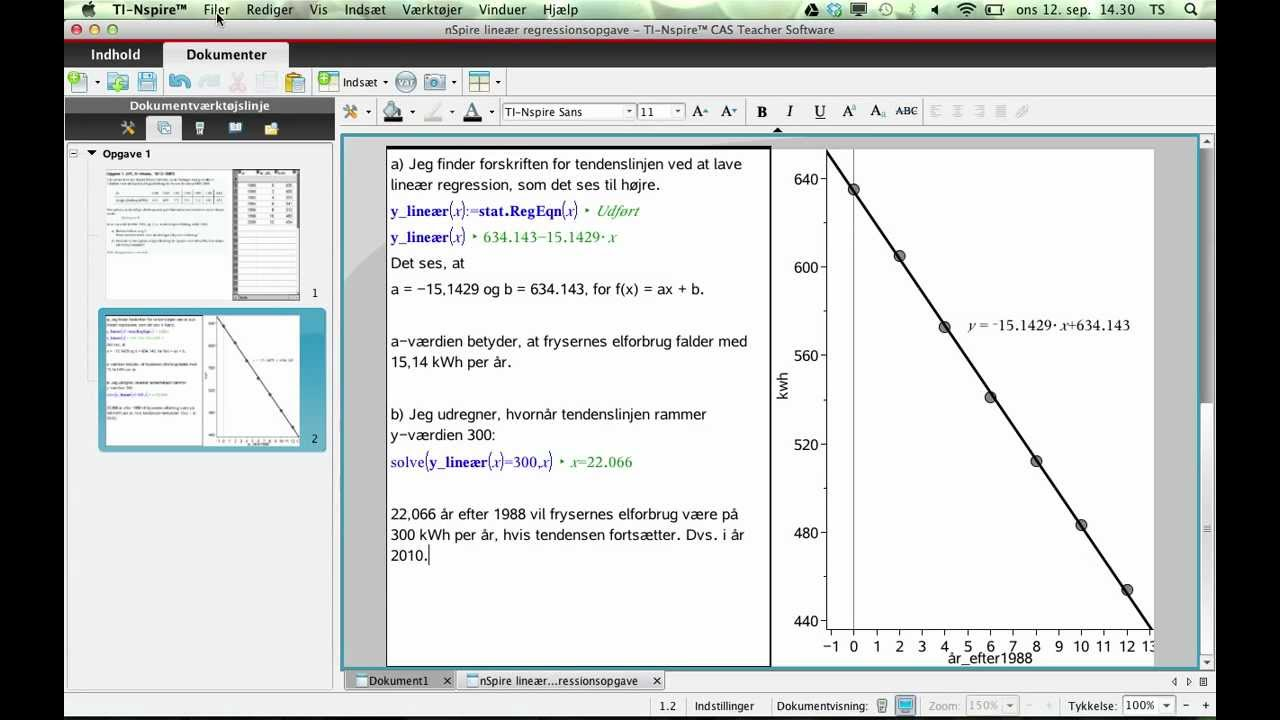 Løsning af lineær regressionsopgave på TI-nSpire