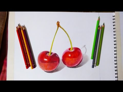 Faber castell polychromos review and Demonstration. Red cherries.