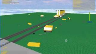 Train Hits car on roblox