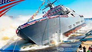 豪快な横滑り式の進水式・米海軍フリーダム級沿海域戦闘艦(LCS) - Exciting Sideways Launch of US Navy Freedom-Class LCS