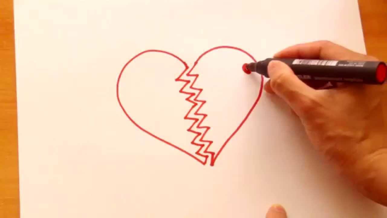 Dibuja Un Corazon Roto Draw A Broken Heart Youtube
