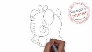 Учимся рисовать животных  Как поэтапно нарисовать розового слона с симпатичным бантом на башке