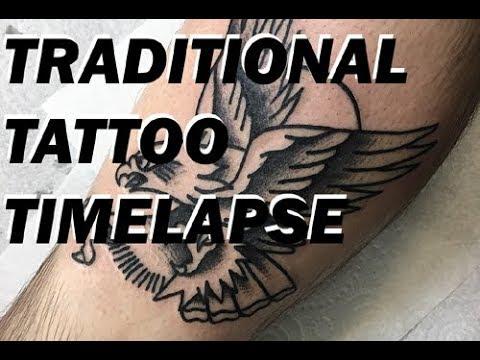 Traditional Tattoo Timelapse Blackwork Eagle Youtube