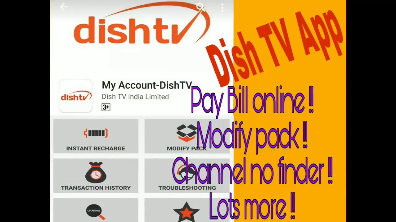 Dish TV Android App  Pay bill online !! Change channel pack etc