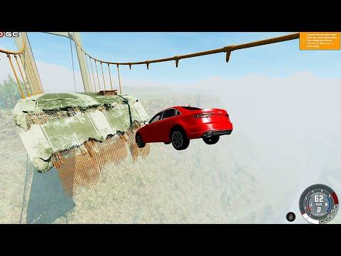 Bridge Jump AUDİ Cars Bump Impact Crash Falling from high - BEAM NG #3